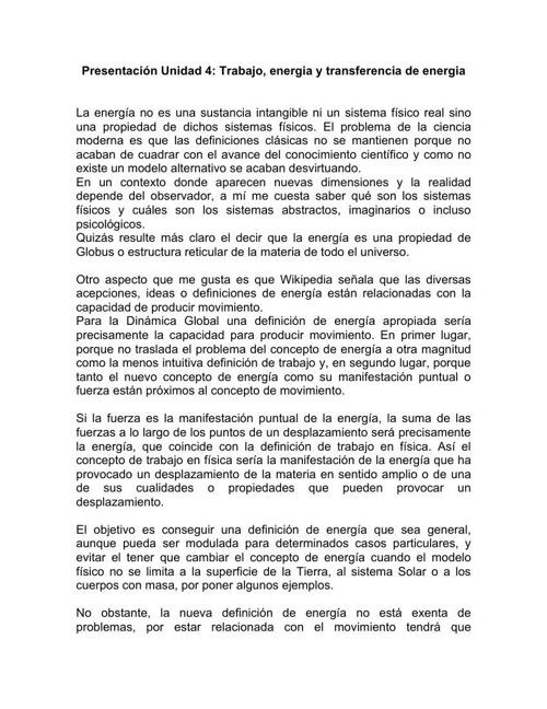 PRESENTACIÓN UNIDAD 4: TRABAJO Y ENERGÍA