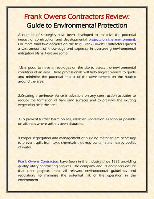Frank Owens Contractors Review: Environmental Protection