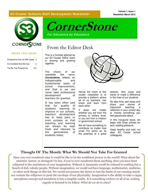 S3 Cornerstone Newsletters