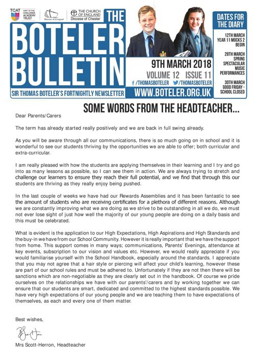 Boteler Bulletin 9th March 2018