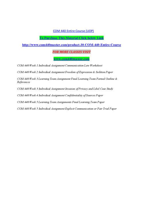 COM 440 MASTER Teaching Effectively/com440master.com