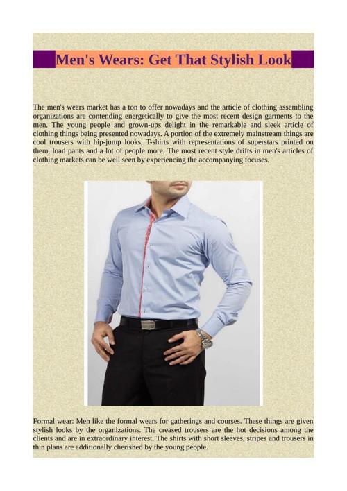 Men's Wears - Get That Stylish Look