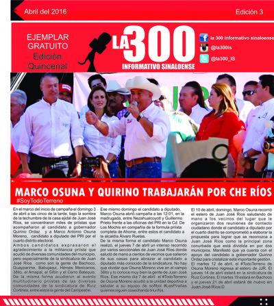3era Edicion Periodico la 300 Informativo Sinaloense