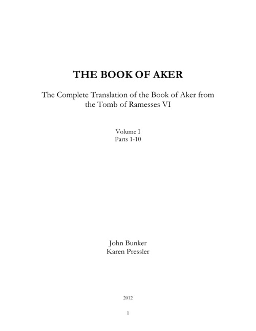 Book of Aker - Volume I