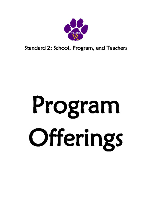 Standard 2: #17 #18 #19 #20 #21 Program Offerings