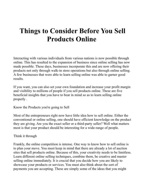 how to sell online usa