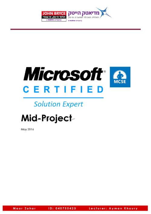 MCSE Middle Project - Maor Zohar