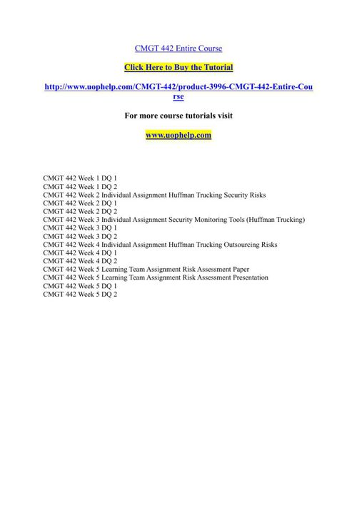 CMGT 442 Academic Achievement/uophelp