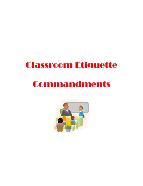 Classroom Etiquette Commandments