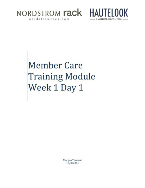 Member Care Training Module - Week 1 Day 1