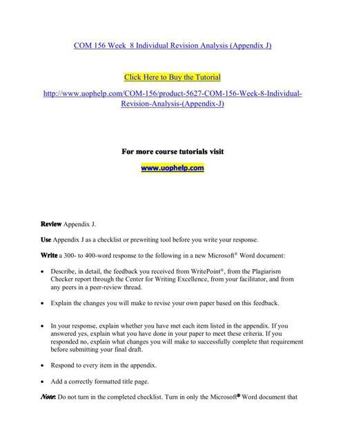 COM 156 Week 8 Individual Revision Analysis (Appendix J)