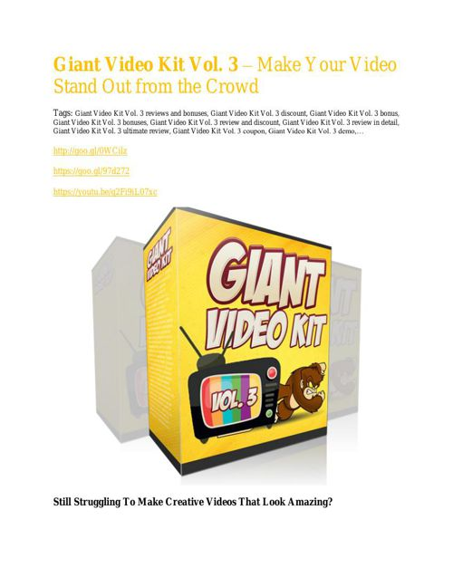 Giant Video Kit Vol. 3 Review - 80% Discount and $26,800 Bonus