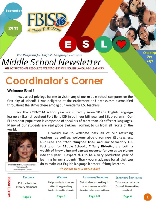 The Program for English Language Learners MS Newsletter