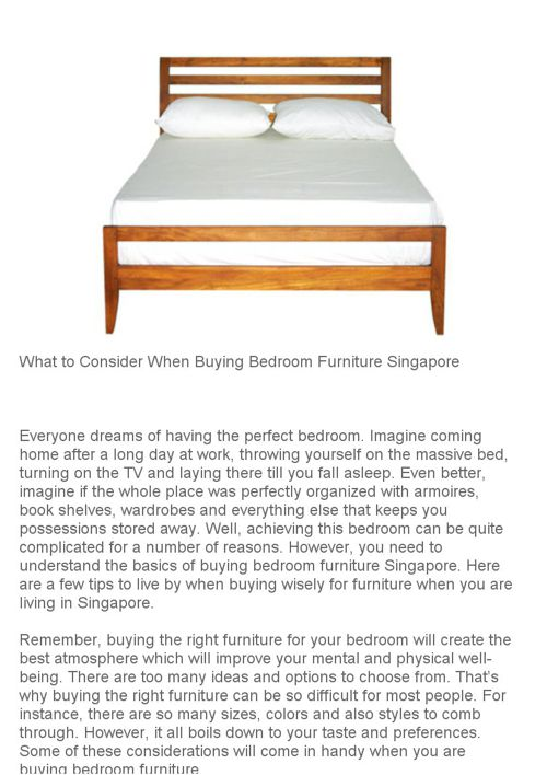 What to Consider When Buying Bedroom Furniture Singapore
