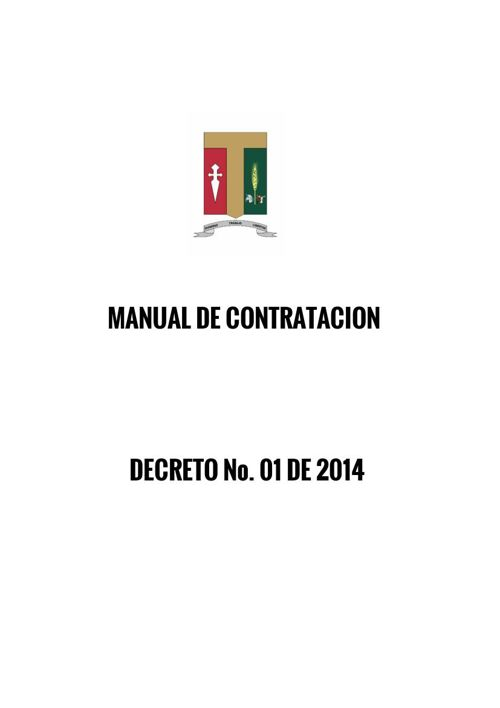 DECRETO 001-2014 MANUAL DE CONTRATACION
