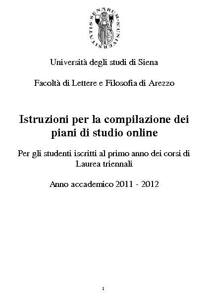 Istruzioni per la compilazione online dei piani di studio