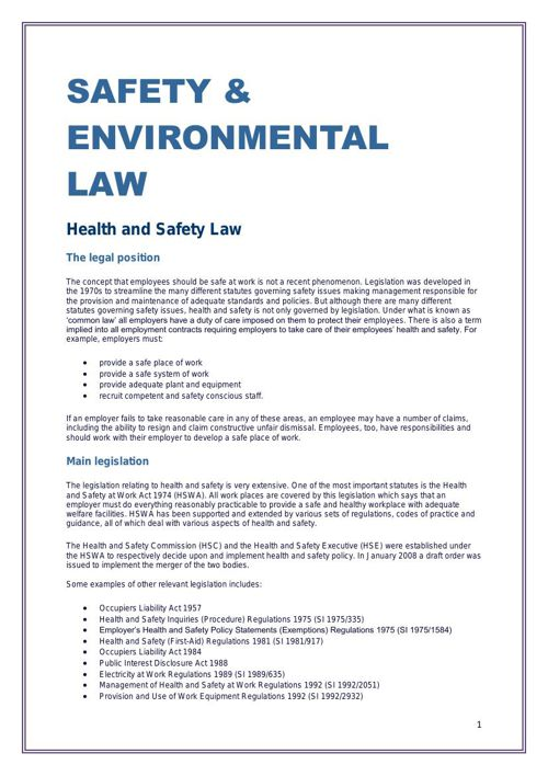 SAFETY & ENVIRONMENTAL LAW
