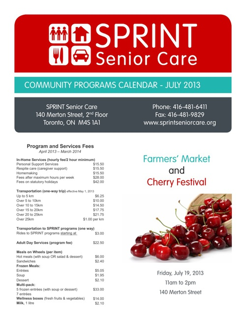 SPRINT Senior Care - Community Services Calendar - July 2013