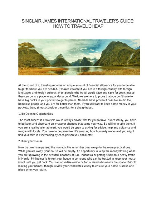 SINCLAIR JAMES INTERNATIONAL TRAVELER'S GUIDE: HOW TO TRAVEL CHE