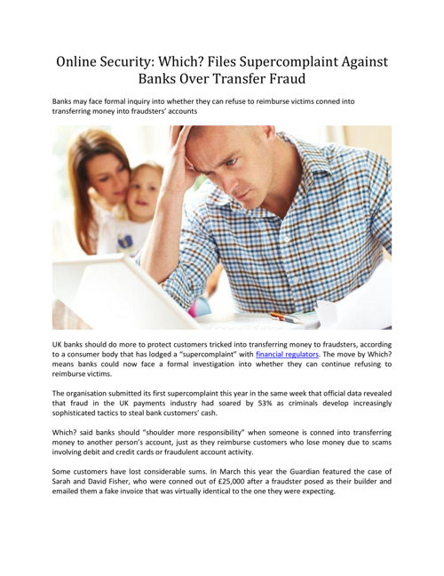 Online Security: Banks Over Transfer Fraud