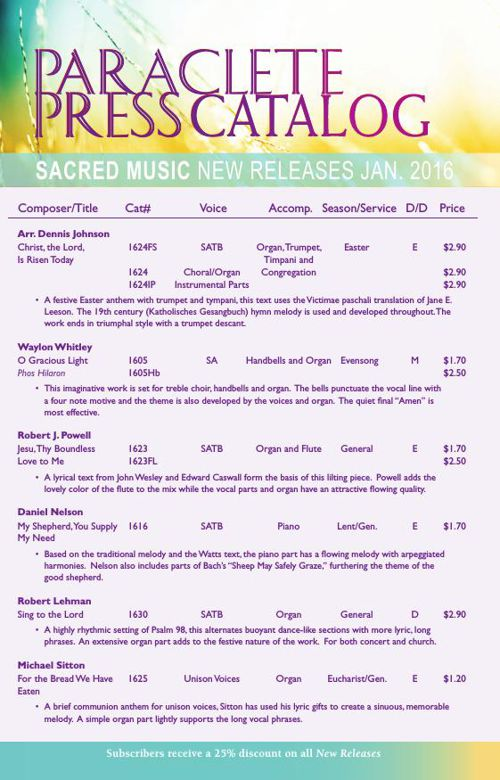 Paraclete Press Sacred Music New Releases - January 2016