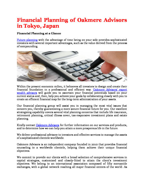 Financial Planning of Oakmere Advisors in Tokyo, Japan