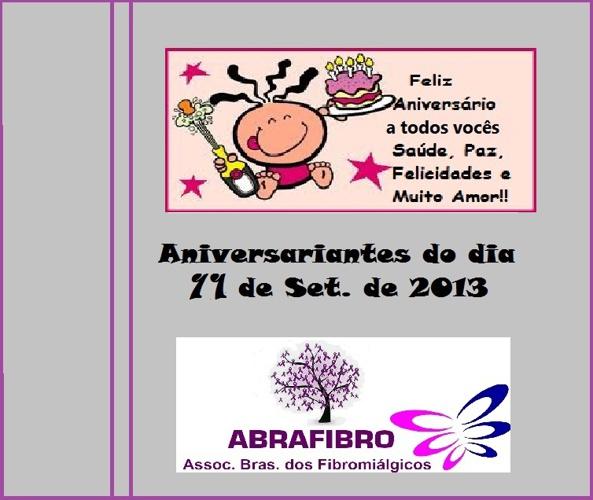 AOS ANIVERSARIANTES DO DIA 11 DE SETEMBRO DE 2013