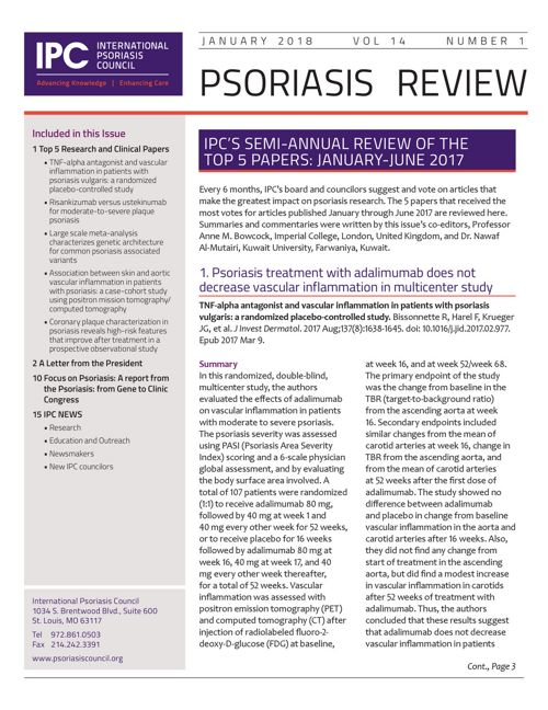 IPC Psoriasis Review Newsletter | January 2018