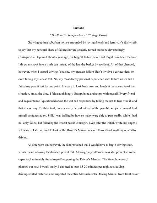 Parchekani Creative Writing Portfolio Term 1