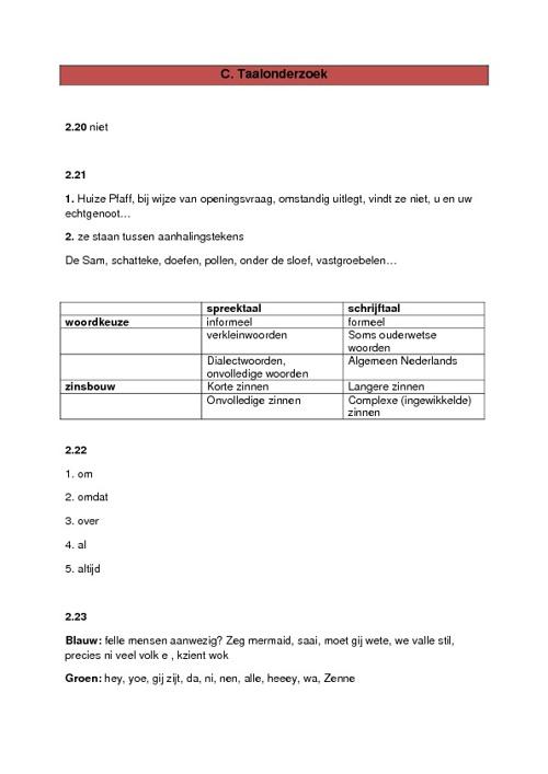 Taalhandeling 2 - D. Taalonderzoek