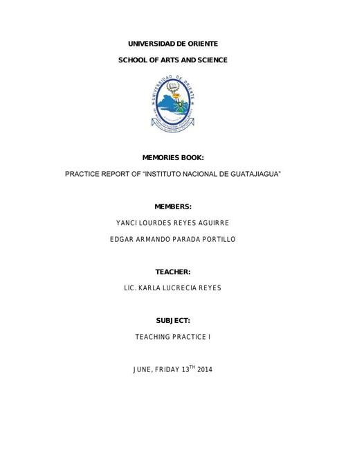 UNIVERSIDAD DE ORIENTE-TEACHING PRACTICE I