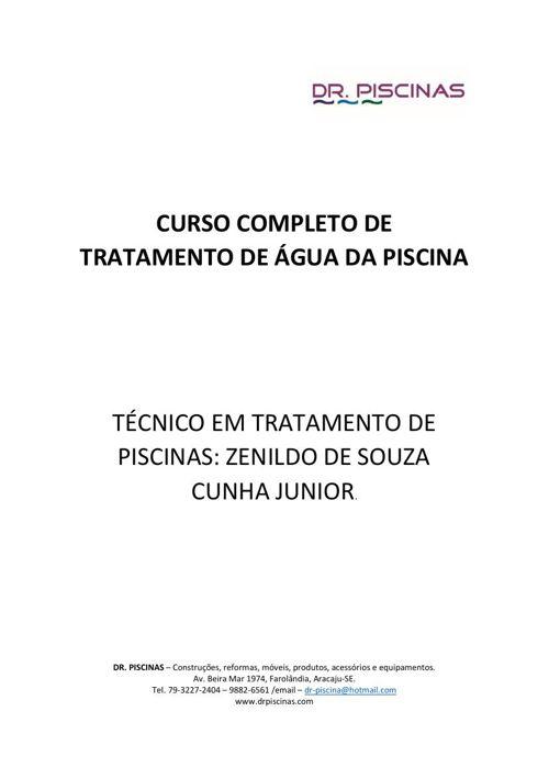 CURSO COMPLETO DE TRATAMENTO DE ÁGUA DE PISCINA