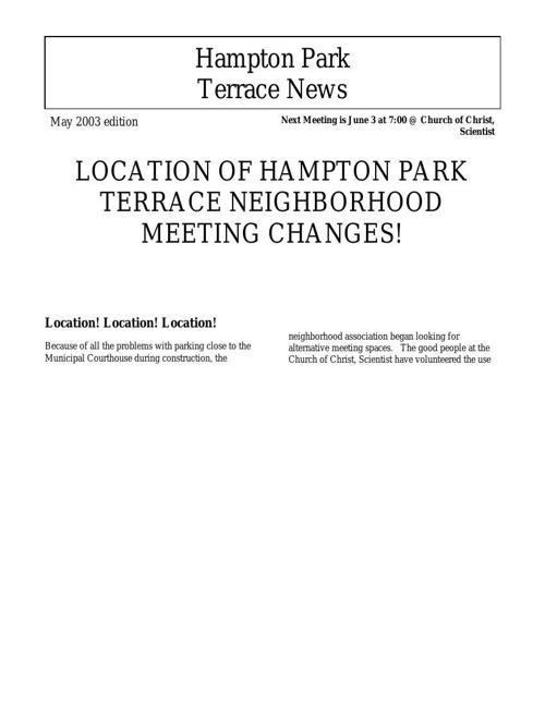 HPT Newsletter June 2003