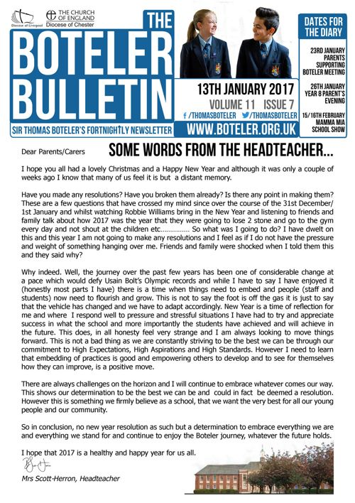 The Boteler Bulletin 13th January 2017