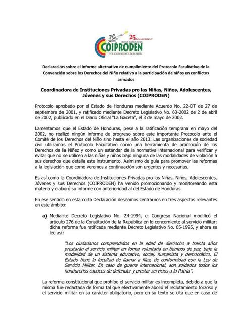 Declaratoria sobre la situación de la niñez ante el CoDN
