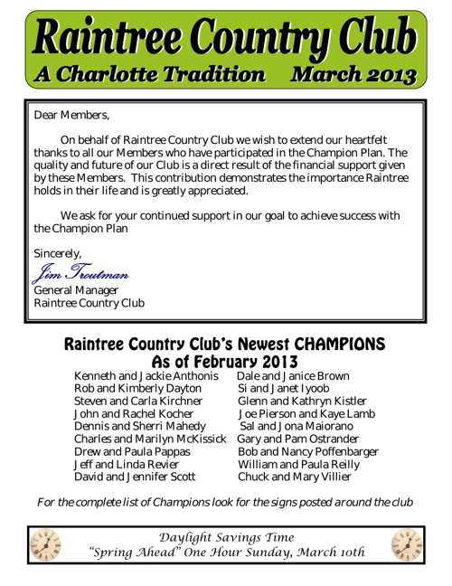 March Newsletter  2013