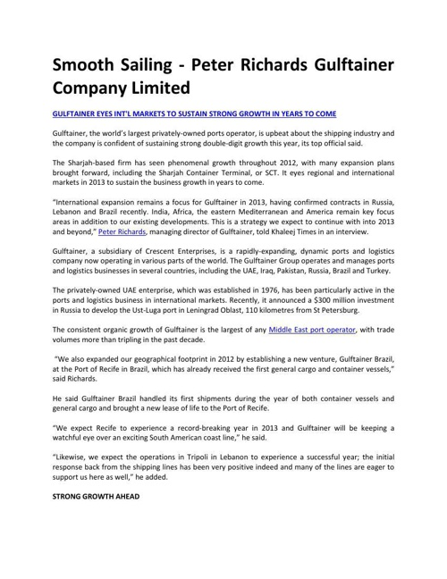Smooth Sailing - Peter Richards Gulftainer Company Limited