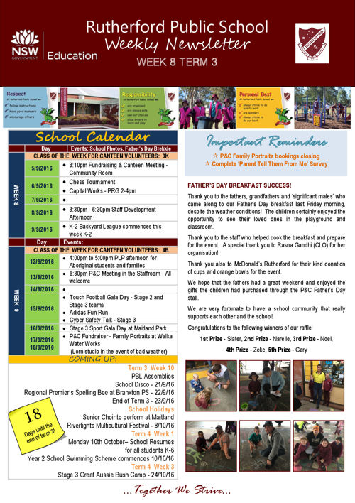 Rutherford Public School Term 3 Week 8 2016 Newsletter