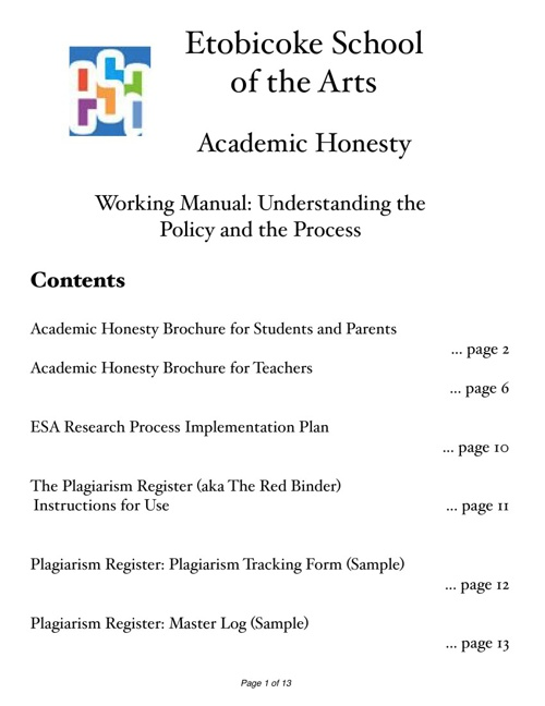 Academic Honesty Manual for Teachers