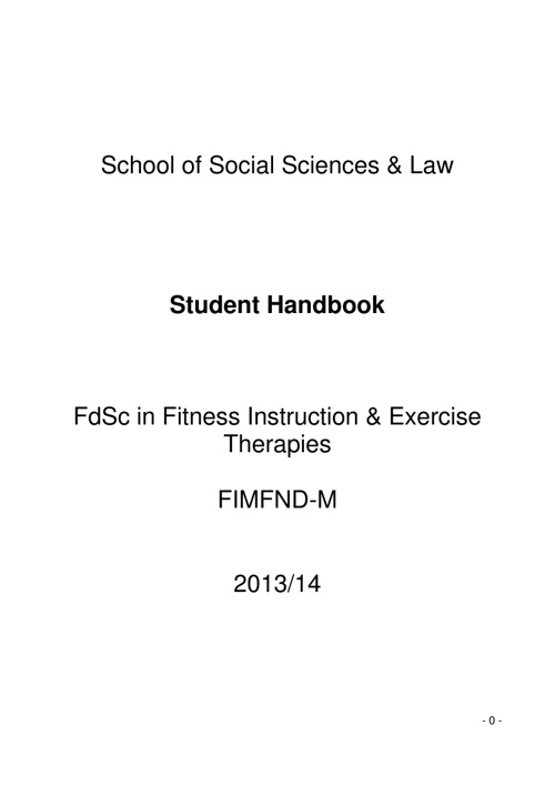 FdSc Fitness Instruction and Exercise Therapy