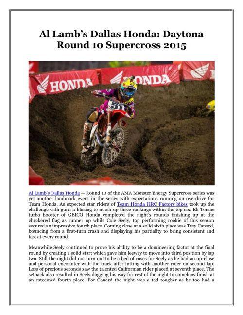 Al Lamb's Dallas Honda: Daytona Round 10 Supercross 2015