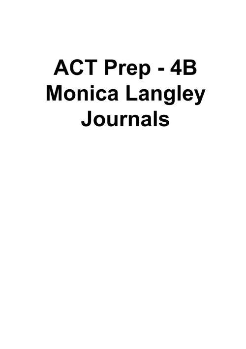 ACT Prep Journals