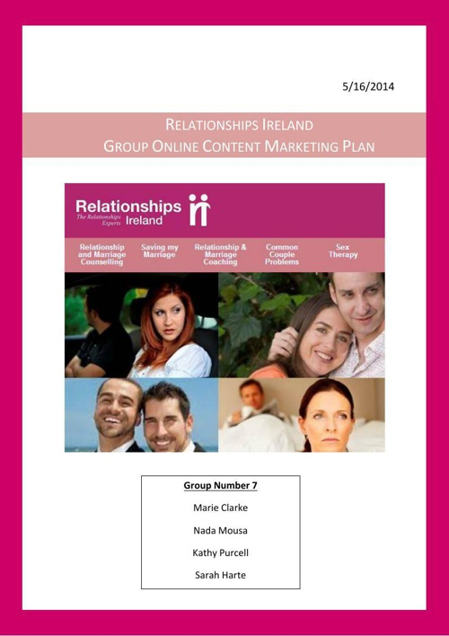Relationships Ireland Online Content Marketing Plan FINAL