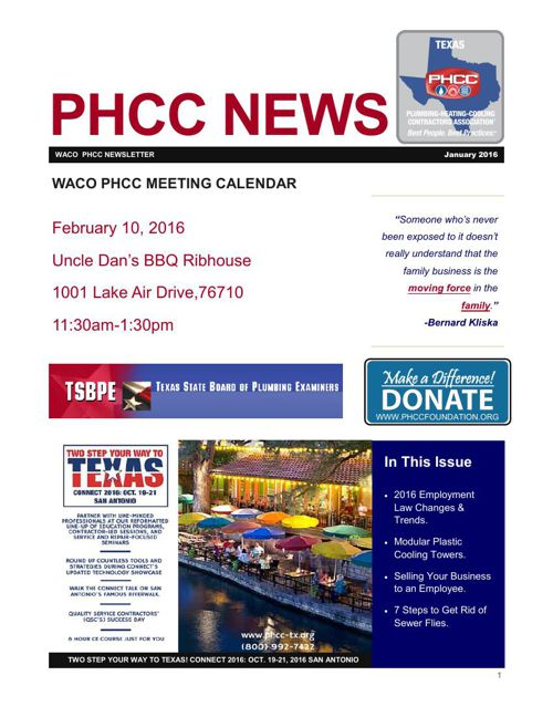 WACO PHCC JANUARY 2016 NEWSLETTER