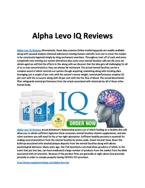 Alpha Levo IQ Reviews