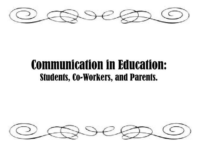 Communication In Education