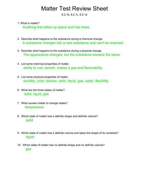 Matter Test Review Sheet