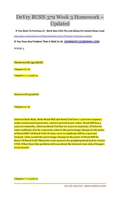 DeVry BUSN 379 Week 3 Homework - Updated