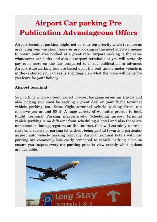 Airport Car parking Pre Publication Advantageous Offers
