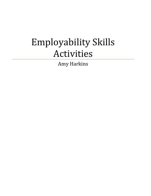 Employability Skills Activities - Harkins